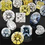 Group of colored diamonds