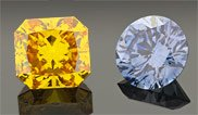A yellow and blue diamond